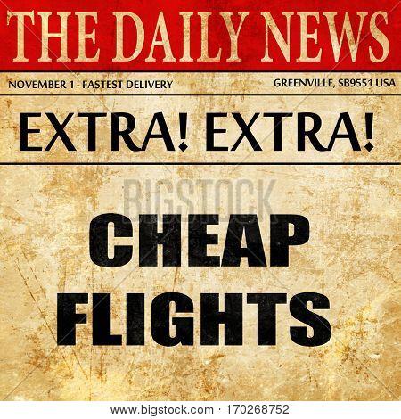 cheap flight, newspaper article text