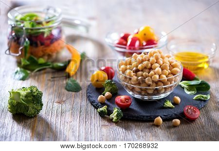 Chickpea and veggies cooking ingredients. Diet vegetarian vegan food and detox clean eating.