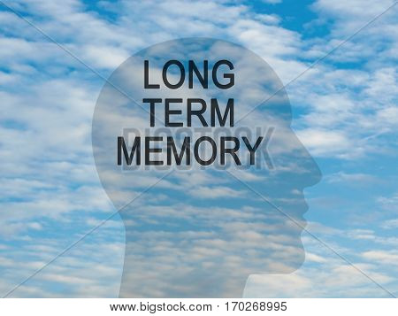 Words Long Term Memory On Transparent Head Silhouette Against A Blue Cloudy Sky illustration