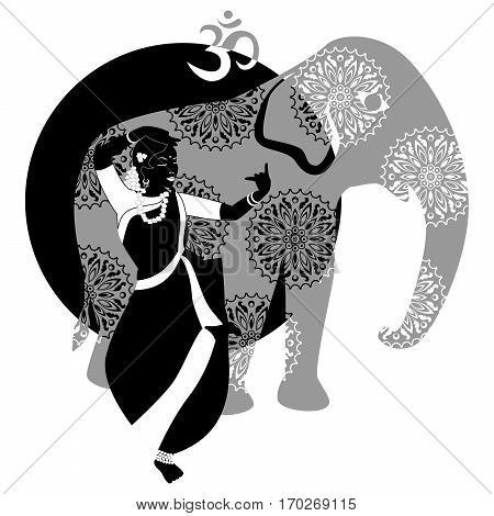 illustration with a beautiful girl and elephant on the theme of India.