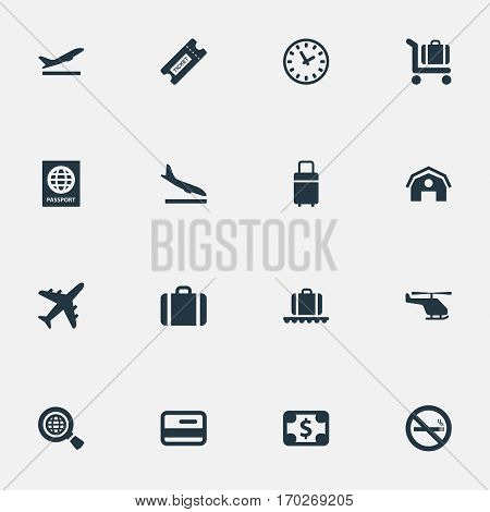 Set Of 16 Simple Travel Icons. Can Be Found Such Elements As Alighting Plane, Credit Card, Travel Bag And Other.