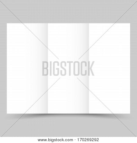 Blank white tri-fold paper brochure with shadow. Vector illustration