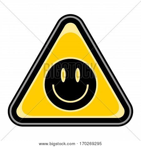 Use it in all your designs. Quick and easy recolorable vector illustration. Yellow and black triangular sticker with smiling face sign. Triangle hazard, warning, danger symbol