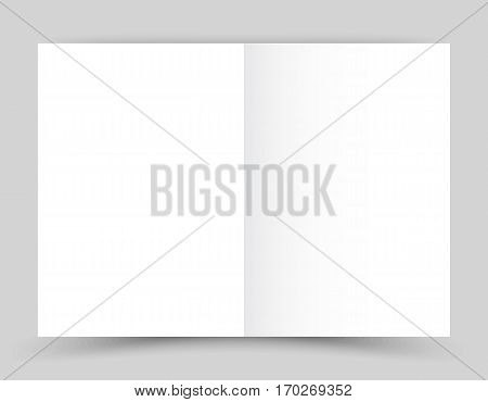 White stationery: blank twofold paper brochure on gray background. Open magazine. Cover for your design