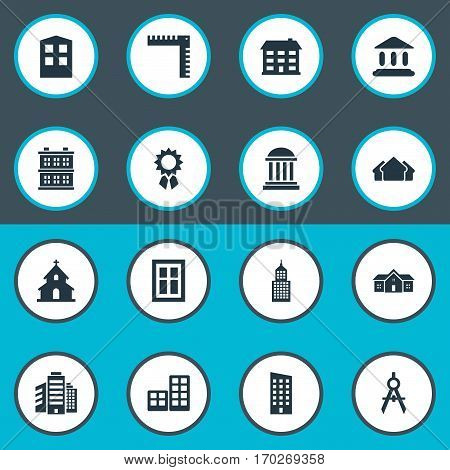 Set Of 16 Simple Structure Icons. Can Be Found Such Elements As Shelter, Engineer Tool, Block And Other.