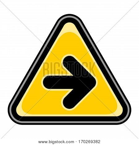 Use it in all your designs. Quick and easy recolorable vector illustration. Yellow and black triangular sticker with arrow right sign. Triangle hazard, warning, danger symbol