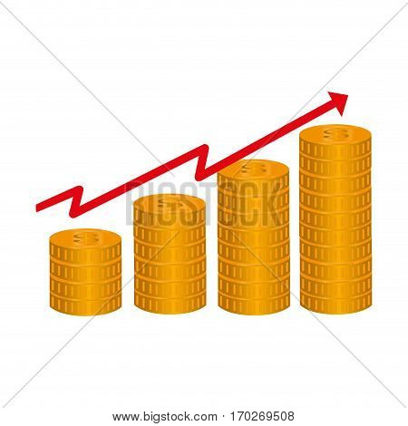 line with rising arrow and stack coins vector illustration vector illustration