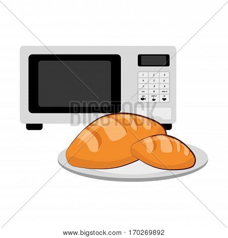 microwave and porcelain dish with bread vector illustration