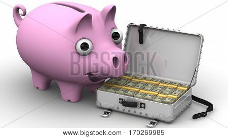 Financial success. Satisfied piggy bank standing next to open suitcase filled with American dollars. The concept of financial success. 3D Illustration