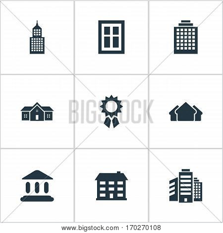 Set Of 9 Simple Construction Icons. Can Be Found Such Elements As Superstructure, Glazing, Residence And Other.