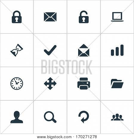 Set Of 16 Simple Practice Icons. Can Be Found Such Elements As Sand Timer, Refresh, Message.