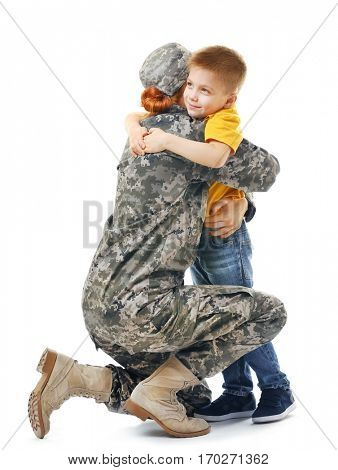 Military mother with her son on white background