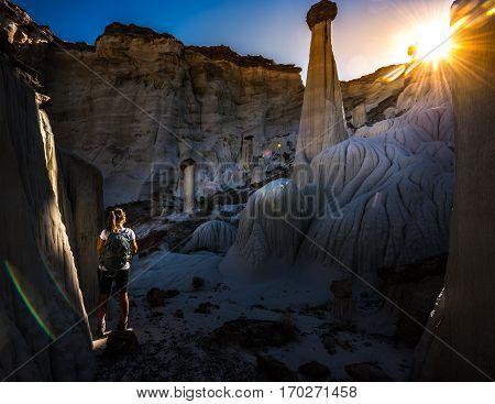 Backpacker Girl Exploring Wahweap Hoodoos Near Kanab