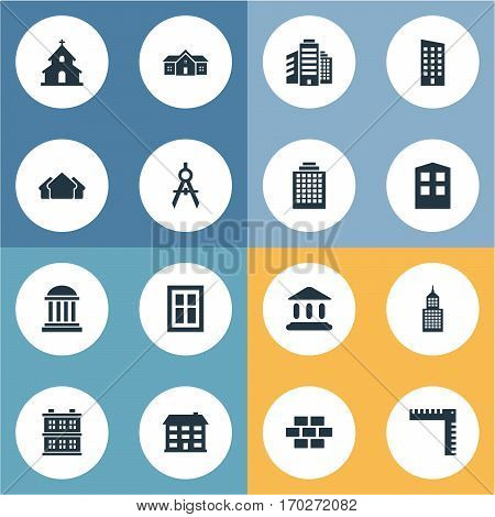 Set Of 16 Simple Structure Icons. Can Be Found Such Elements As Academy, Construction, Offices And Other.