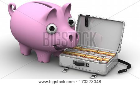 Financial success. Satisfied piggy bank standing next to open suitcase filled with Russian rubles. The concept of financial success. 3D Illustration