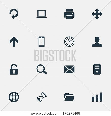 Set Of 16 Simple Apps Icons. Can Be Found Such Elements As Statistics, Dossier, User And Other.