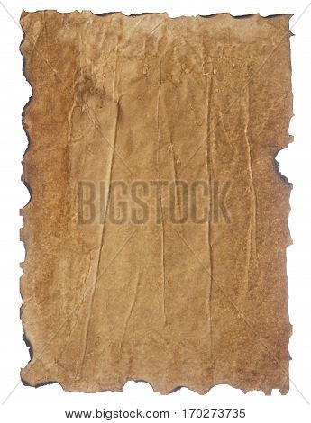 texture of crumpled retro paper with burnt edges isolated on white background