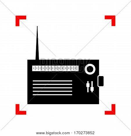 Radio sign illustration. Black icon in focus corners on white background. Isolated.