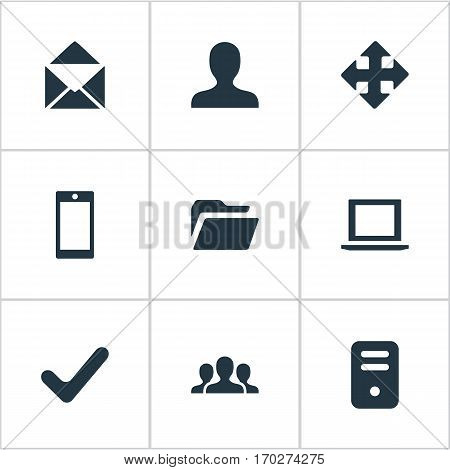 Set Of 9 Simple Apps Icons. Can Be Found Such Elements As Check, Smartphone, Dossier And Other.