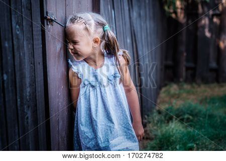 Little girl peeping through the fence on the nature