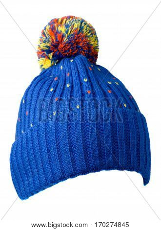 Knitted Hat Isolated On White Background .hat With Pompon .     Blue  Hat