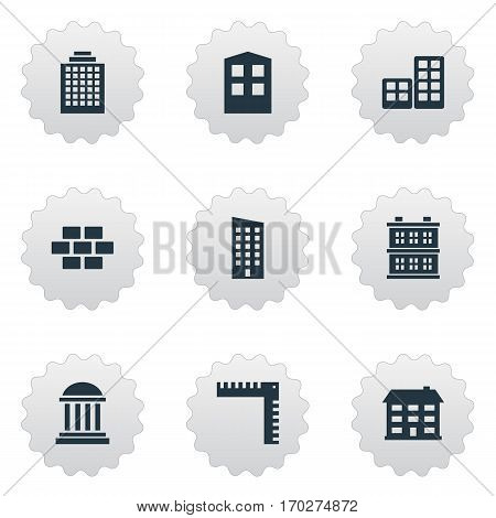 Set Of 9 Simple Construction Icons. Can Be Found Such Elements As Stone, School, Block And Other.