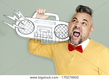 Caucasian Man Holding Paper Crafted Jukebox