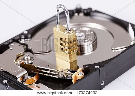 Lock On Hdd Or Harddrive, Part Of Computer, Cyber Security Concept