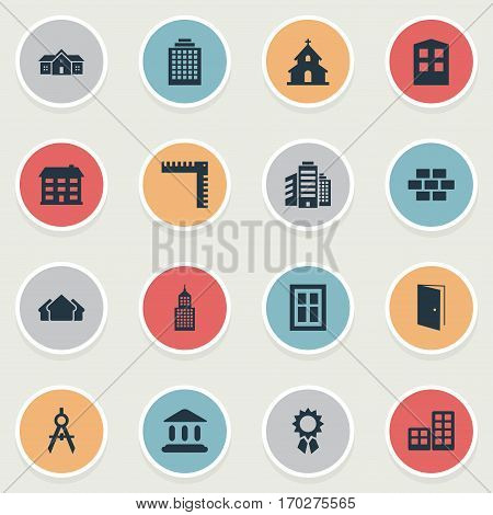 Set Of 16 Simple Construction Icons. Can Be Found Such Elements As Popish, Length, Stone And Other.