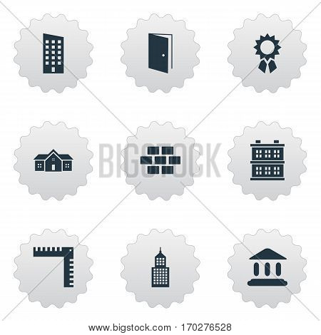 Set Of 9 Simple Construction Icons. Can Be Found Such Elements As Stone, Block, Booth And Other.