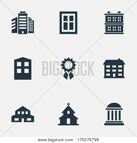 Set Of 9 Simple Architecture Icons. Can Be Found Such Elements As Residential, Academy, Block And Other.