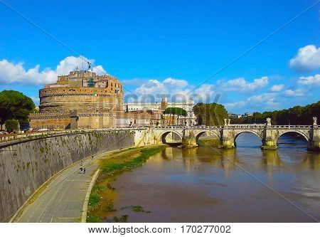 Castel Sant'angelo and Bernini's statue on the bridge Rome Italy. Tiber river