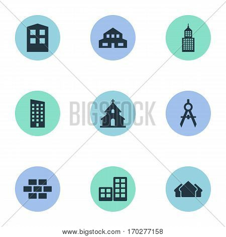 Set Of 9 Simple Construction Icons. Can Be Found Such Elements As Construction, Shelter, Popish And Other.