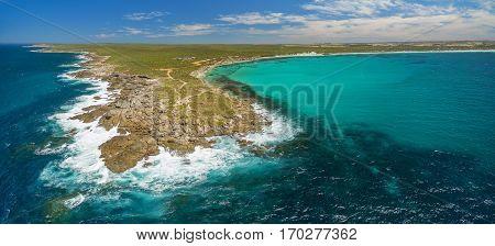 Rugged Coastline Of Kangaroo Island In Summer - Beautiful Aerial Panorama.