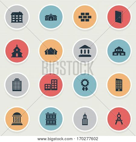 Set Of 16 Simple Architecture Icons. Can Be Found Such Elements As Stone, Engineer Tool, Academy And Other.