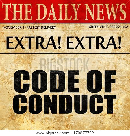code of conduct, newspaper article text