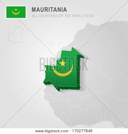 Mauritania painted with flag drawn on a gray map.