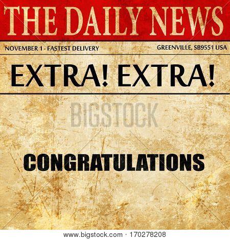 congratulations, newspaper article text