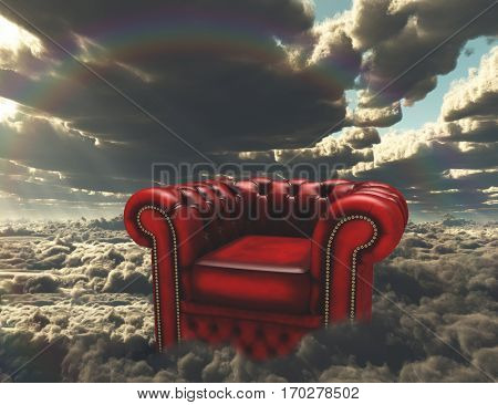 Armchair on a clouds.  3D Render