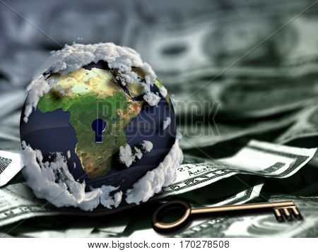 Globe with keyhole and key on US dollars.  3D Render  Some elements provided courtesy of NASA