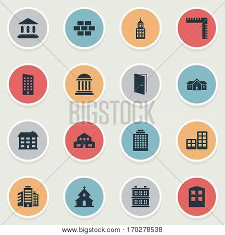 Set Of 16 Simple Construction Icons. Can Be Found Such Elements As Residence, Residential, Floor And Other.