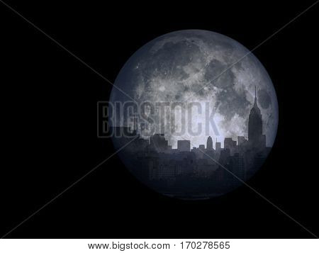 City scape reflects in the moon.  3D Render  Some elements provided courtesy of NASA