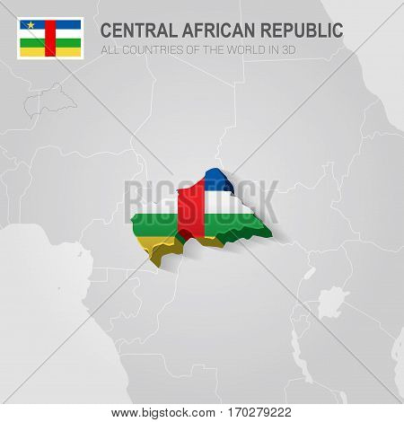 Central African Republic painted with flag drawn on a gray map.
