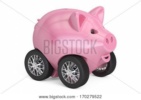 Piggy bank on car wheels 3D rendering isolated on white background