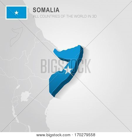 Somalia painted with flag drawn on a gray map.