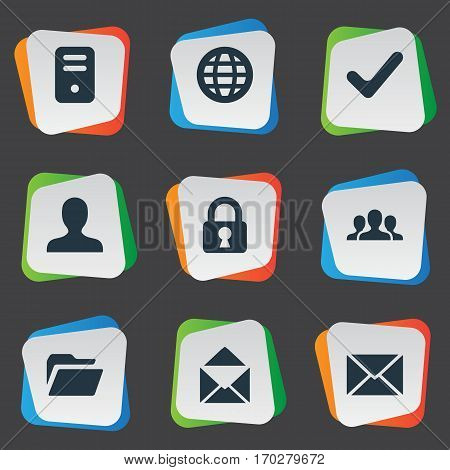 Set Of 9 Simple Apps Icons. Can Be Found Such Elements As User, Check, Dossier And Other.