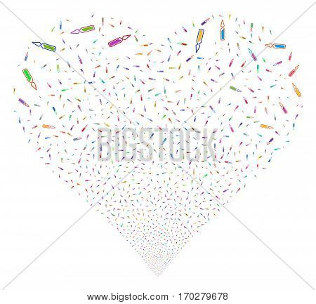 Ampoule fireworks with heart shape. Vector illustration style is flat bright multicolored iconic symbols on a white background. Object valentine heart made from scattered design elements.