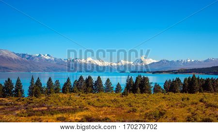 Panoramic View Of Lake Pukaki And Mt Cook Mountain Range