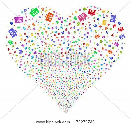 Analysis fireworks with heart shape. Vector illustration style is flat bright multicolored iconic symbols on a white background. Object salute combined from random pictograms.