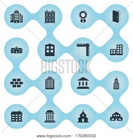 Set Of 16 Simple Structure Icons. Can Be Found Such Elements As Block, Construction, Superstructure And Other.